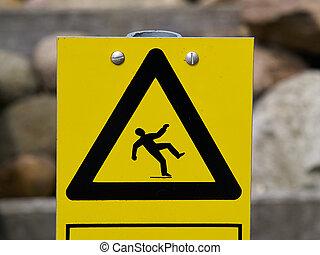 figyelmeztetés, csúszós, aláír, felszín, emelet
