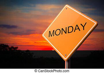 figyelmeztetés, hétfő, út cégtábla