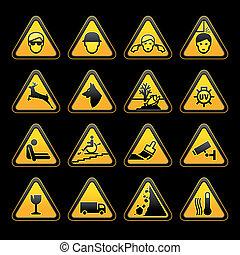 figyelmeztetés, jelkép, biztonság, cégtábla, set.