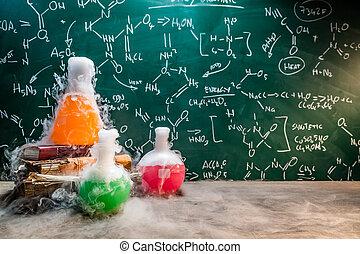 figyelmeztet, ellenhatás, kémiai, gyors, kémia