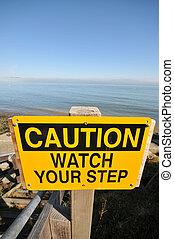 figyelmeztet, karóra, -e, lábnyom, aláír, által, a, óceán