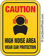 figyelmeztet, magas, zaj, aláír