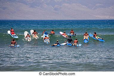 figyelmeztet, szörfözás
