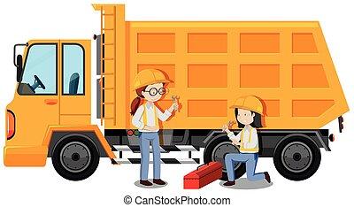 fijación, mecánico, camión, ingeniero