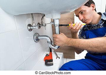 fijación, plomero, fregadero cuarto baño