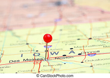 fijado, mapa, moines, des, estados unidos de américa