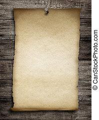fijado, viejo, de madera, o, clavo, papel, plano de fondo, ...