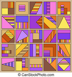 fijar el cuadrado, amarillo, naranja, marrón, cuadrángulo, geométrico, colección, forma, violeta, colors., plano, lila, elementos, diferente, figure.