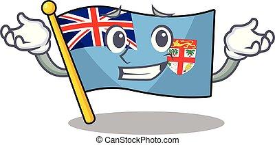 fiji, el hacer muecas, bandera, caricatura, forma