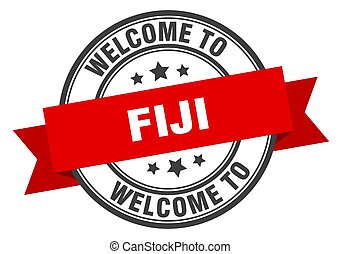 Fiji stamp. welcome to Fiji red sign