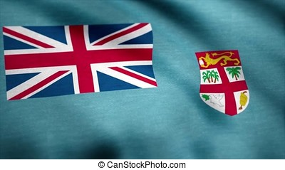 Fiji Flag in Slow Motion Classic Flag Smooth blowing in the wind on a windy day rising sun. Fijian flag waving animation