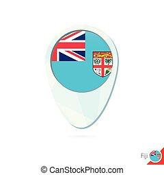 Fiji flag location map pin icon on white background.