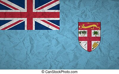 Fiji flag with the effect of crumpled paper and grunge