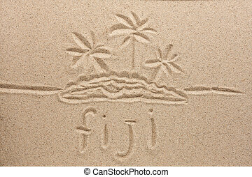 Fiji handwritten in sand for natural, symbol, tourism or ...