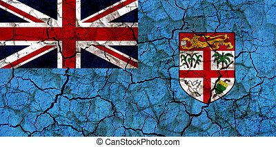 fiji islands country flag painted on a cracked grungy wall
