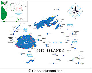 Highly detailed vector map of Fiji with main cities and roads.