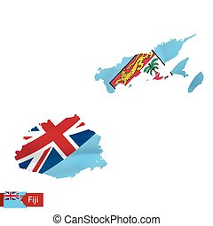 Fiji map with waving flag of country. Vector illustration.