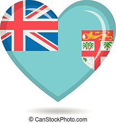 Fiji national flag in heart shape vector illustration
