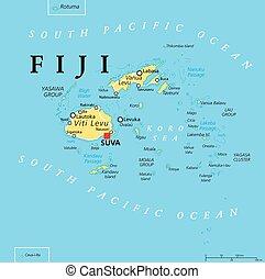 fiji, político, mapa