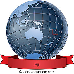 Fiji, position on the globe Vector version with separate layers for globe, grid, land, borders, state, frame; fully editable
