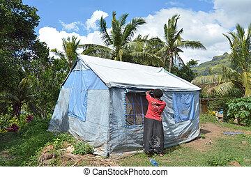 fijian, 受害者, ......的, 旋風, 溫斯頓, 活, 在, unicef, 帳篷