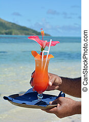fijian, cameriere, servire, cocktail, su, uno, spiaggia, in, figi