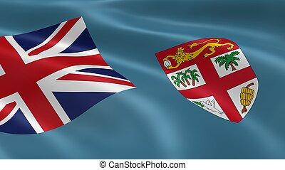 Fijian flag in the wind