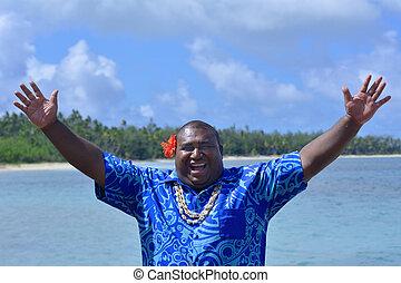 Fijian man greeting hello Bula - Fijian man greeting in...