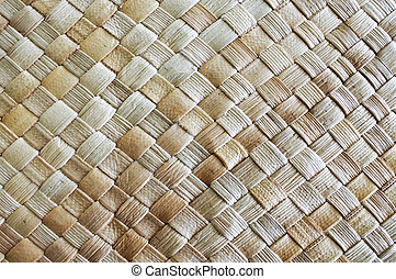 fijian, palma coco, folhas, tecendo, fundo