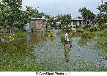 fijian, ragazza, camminare, sopra, alluvionato, terra, in, figi