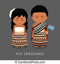 Fijians in national dress with a flag. Man and woman in traditional wedding costume. Travel to Fiji. People. Vector flat illustration.