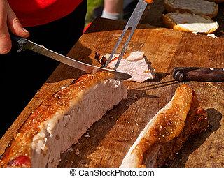 fijnproever, grill, bbq, knapperig, geroosterd varkensvlees
