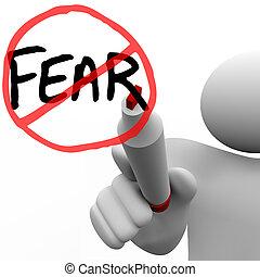 fik, över, rädsla, -, man, drar, cirkel, och, snedstreck,...