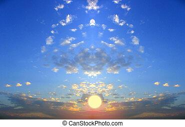 fiktion, av, solnedgånger