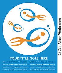 filé, fourchette, fish, design.