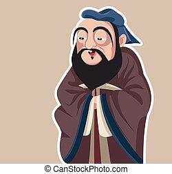 filósofo, confucius, caricatura, vector, illustration.eps, ...