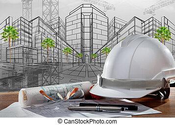 fil, av, säkerhet hjälm, och, arkitekt, pland, på, ved, bord, med, solnedgång, scen, och, anläggande konstruktion