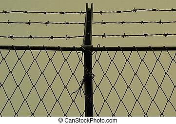 fil barbelure, barrière