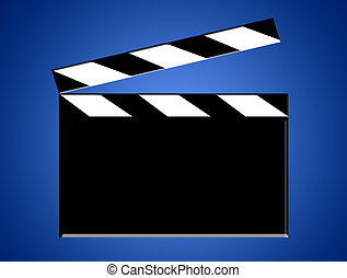 Fil board - Black and white film board on blue background