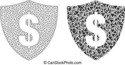 fil, bouclier, cadre, dollar, polygonal, maille, mosaïque, icône