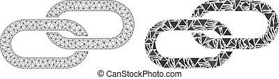 fil, chaîne, cadre, polygonal, maille, mosaïque, icône