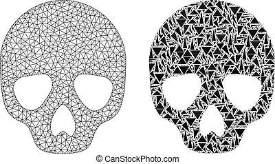 fil, crâne, cadre, polygonal, maille, mosaïque, icône