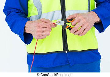fil, découpage, électricien, pinces