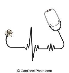 fil, ekg, monde médical, long, forme, stéthoscope, ligne