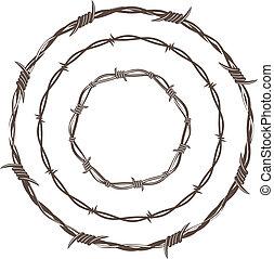 fil fer barbelé, anneaux