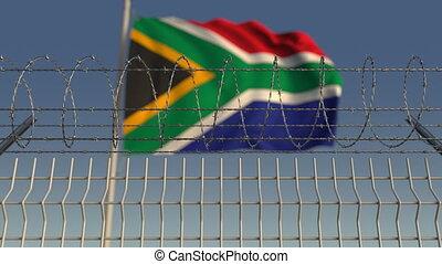 fil fer barbelé, contre, drapeau ondulant, animation, loopable, afrique., sud, 3d