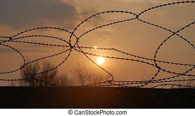 fil fer barbelé, prison, prison, fence., sécurité, et,...