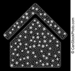 fil, flamme, cadre, taches, maille, lumière, maison