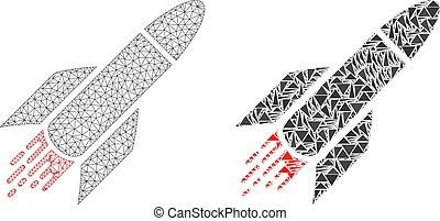 fil, fusée, cadre, polygonal, maille, mosaïque, icône