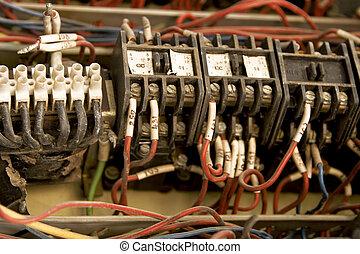fil, installation, électrique, coloré